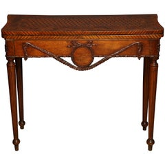 Unusual Louis XVI Carved Walnut Game Table