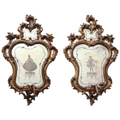 Pair of Italian Rococo Sconce Mirrors