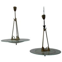 Fontana Arte, Pietro Chiesa, Couple Brass Glass Chandeliers