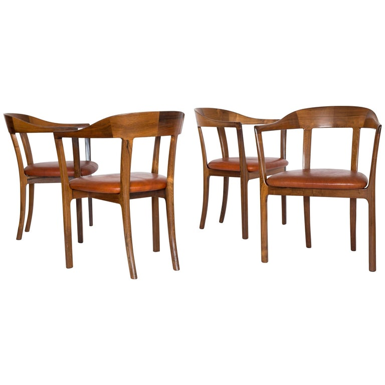 Ole Wanscher, a Set of Four Rosewood and Nigerian Leather Armchairs, 1958