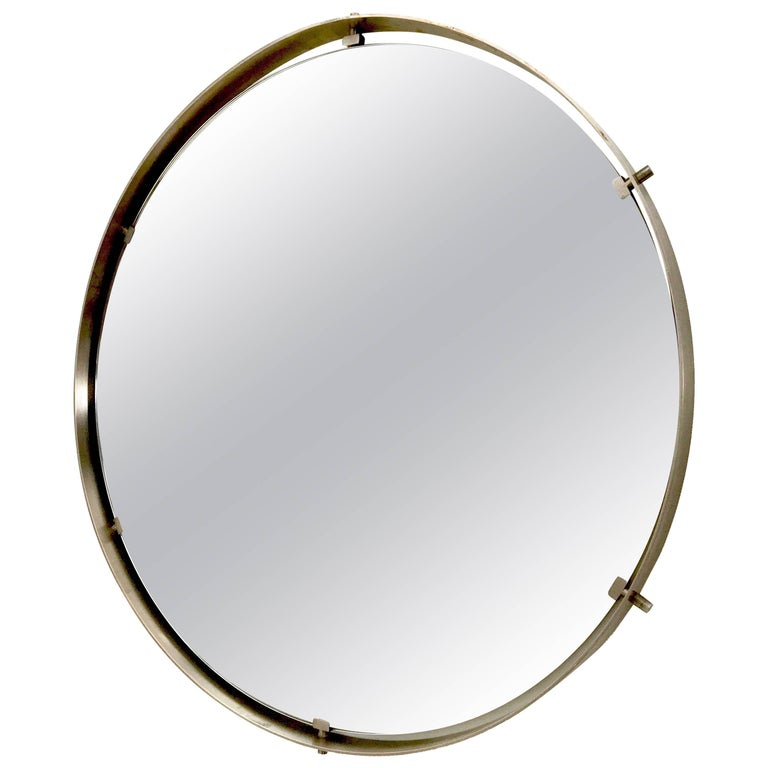 Round Nickel-Plated Brass Wall Mirror, Italy, 1960s