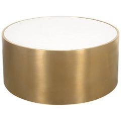 Modern Round Leon Coffee Table with Brushed Brass Exterior Vanilla Concrete Top