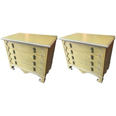 Pair of Light Yellow Four Drawer Bachelors Chests by Tomlinson w/ Brass Hardware