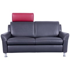 Willi Schillig Designer Sofa Two-Seat Anthrazit Grey Red Leather Couch
