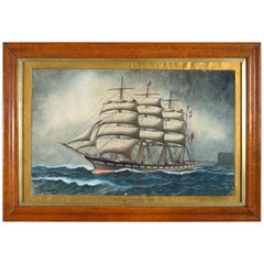 19th Century Victorian Period Watercolor of a Ship, Signed JW Holmes