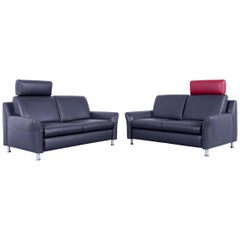 Willi Schillig Designer Sofa Set Two-Seat Anthrazit Grey Red Leather Couch