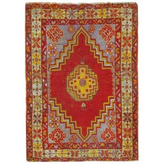 Handmade Antique Turkish Anatolian Rug, 1920s