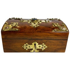 Antique Black Walnut Jewel Box with Scottish Banded Agate and Brass Mounts