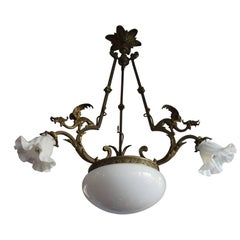 Antique Sculptural Brass Bronze & Glass Pendant / Chandelier with Winged Dragons