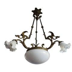 Antique Gothic Revival Bronze & Glass Pendant / Chandelier w. Winged Gargoyles