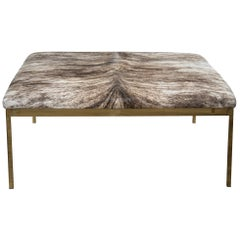 Modern Simple Style Square Ottoman with Brindle Cowhide and Brass Frame and Legs