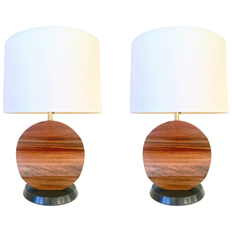 Pair of Sculptural Rosewood Lamps