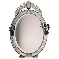 Antique Italian Venetian Mirror with Girandole Candle, 1890