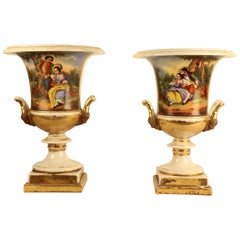 Pair of French Empire Style Porcelain Urns