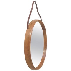 Oak Wall Mirror by Uno & Östen Kristiansson for Luxus, Sweden, 1960s