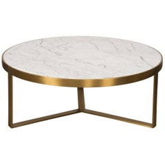 Mid-Century Modern Smooth Finish Round Brushed Brass Carrara Stone Coffee Table