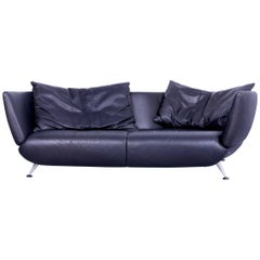 de Sede DS-102 Designer Sofa Leather Black Three-Seat Couch Matthias Hoffmann