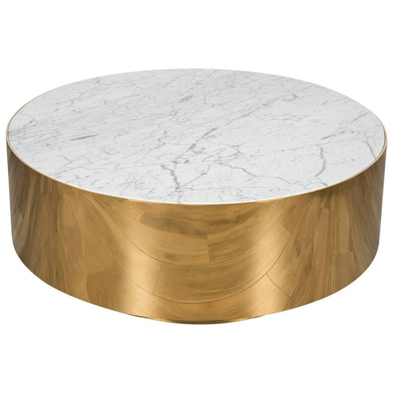 Mid-Century Modern Smooth Finish Round Shiny Brass Carrara Stone Coffee Table