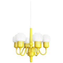 1960s Hurricane Yellow Hanging Light by Hans-Agne Jakobsson, Markaryd, Sweden