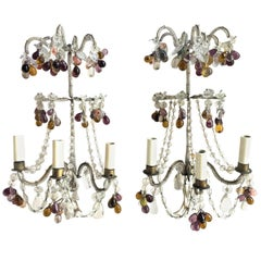 Pair of Bagues Style Sconces with Glass Fruit, French, 1920s