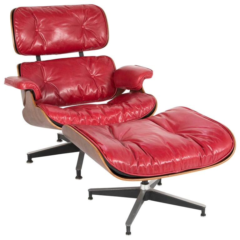 Iconic Rosewood And Red Leather Eames Lounge Chair Ottoman For