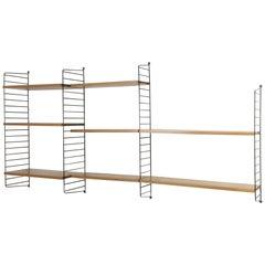 Vintage Elm String Wall Unit Nisse Strinning String Design Ab, Sweden, 1960s