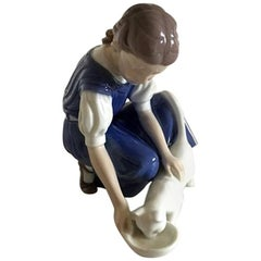 Bing & Grondahl Figurine Girl with Cat #1745