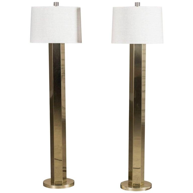 Pair of Brass Vintage Italian Brass Floor Lamps, circa 1970