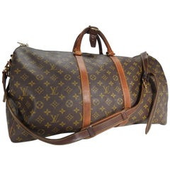Louis Vuitton Classic Keepall Leather Monogram Travel Bag
