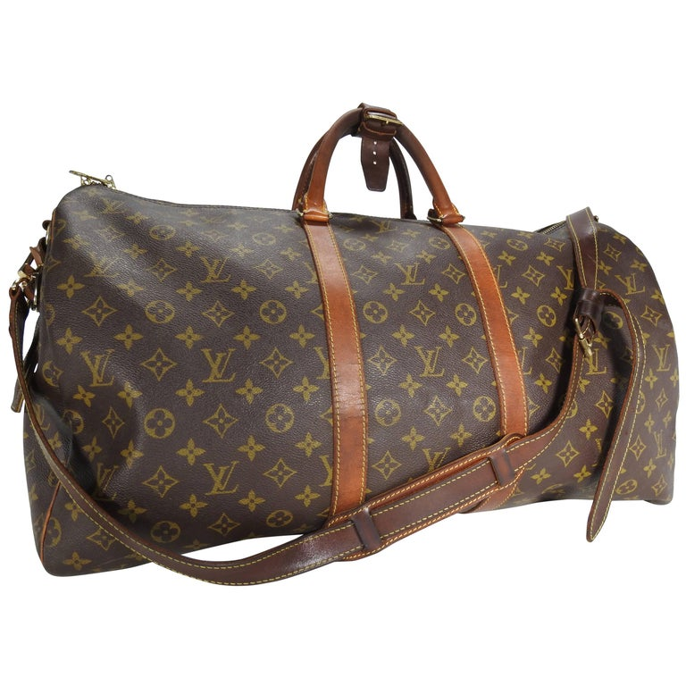 abf7afe4903c Louis Vuitton Classic Keepall Leather Monogram Travel Bag For Sale ...