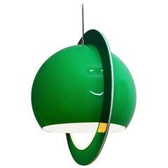 Italian Green Globe Space Age Plastic Pendant Lamp, 1970s