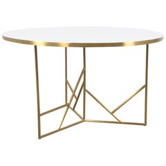 Modern Midcentury Dining Table White Concrete Top and Geometric Brass Legs