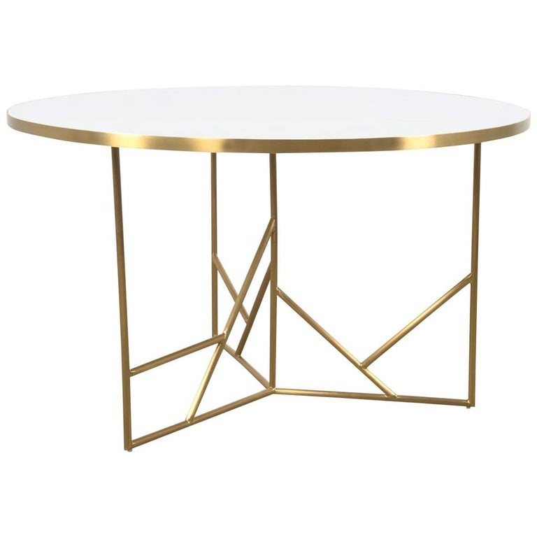 Modern Midcentury Dining Table White Concrete Top And Geometric Br Legs For