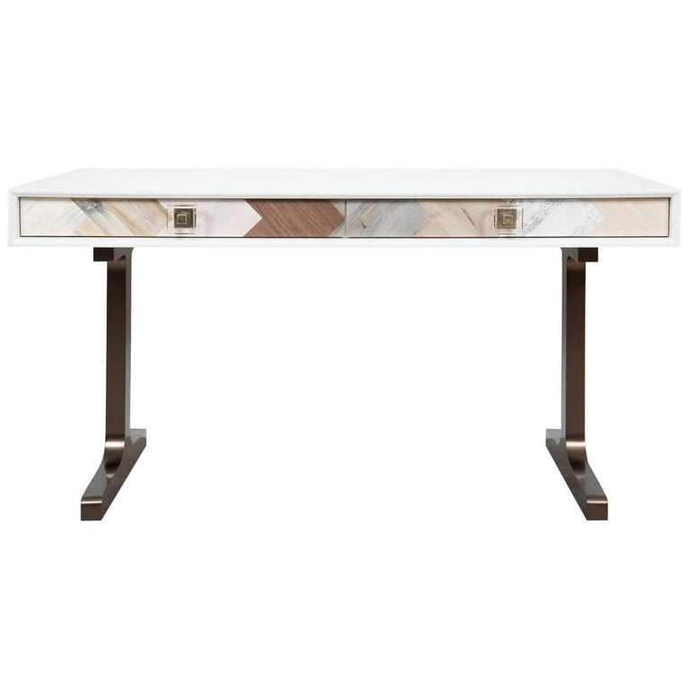 White Desk with Walnut, Hickory and Oak Reclaimed Woods Accents Copper T-Legs
