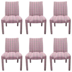 Six Upholstered Parsons Style Dining Chairs Hollywood Regency Pink and Sliver