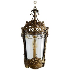 Italian Bronze Lantern with Flowers and Garlands, 1950s