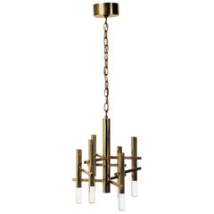 Petite Italian Brass and Lucite Chandelier by Sciolari