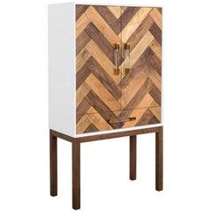 Modern Bar Cabinet Lucite Pulls, Walnut Base & Chevron Pattern Drawer & Shelving
