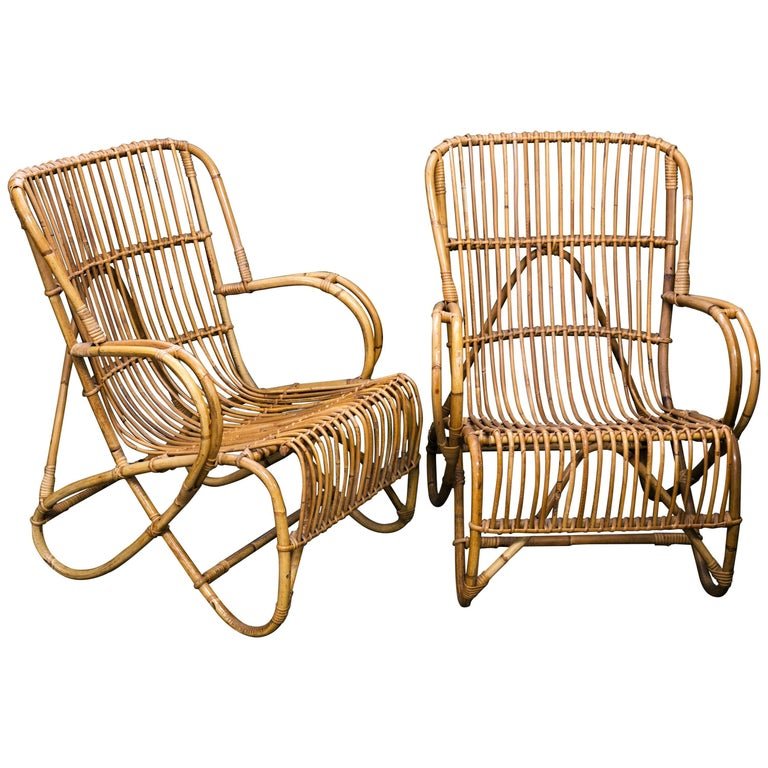 Pair of Midcentury Rattan and Bamboo Lounge Chairs by Rohe Noordwolde