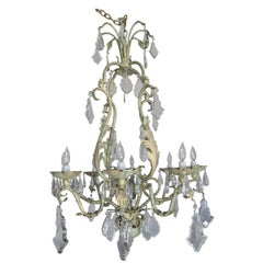 French Wrought Iron and Crystal Painted Chandelier, circa 1930