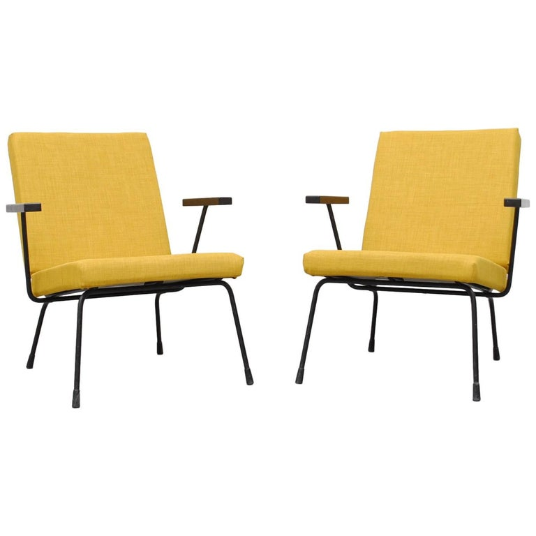 Pair of Wim Rietveld Chair No. 1407 Lounge Chairs for Gispen