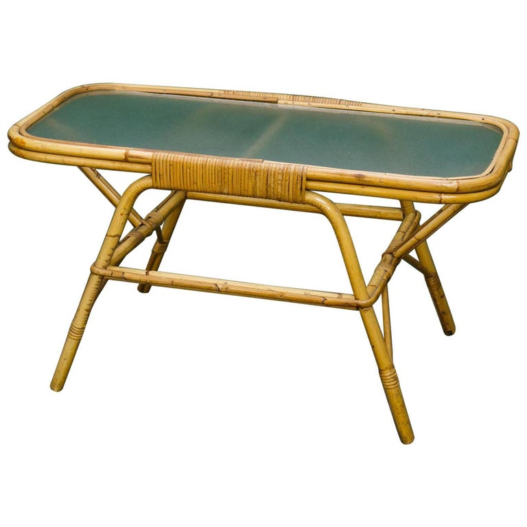 Rectangular Rattan and Tortoise Bamboo Coffee Table with Frosted Glass Top