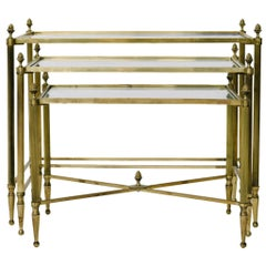 Vintage Petite French Brass Nesting Tables
