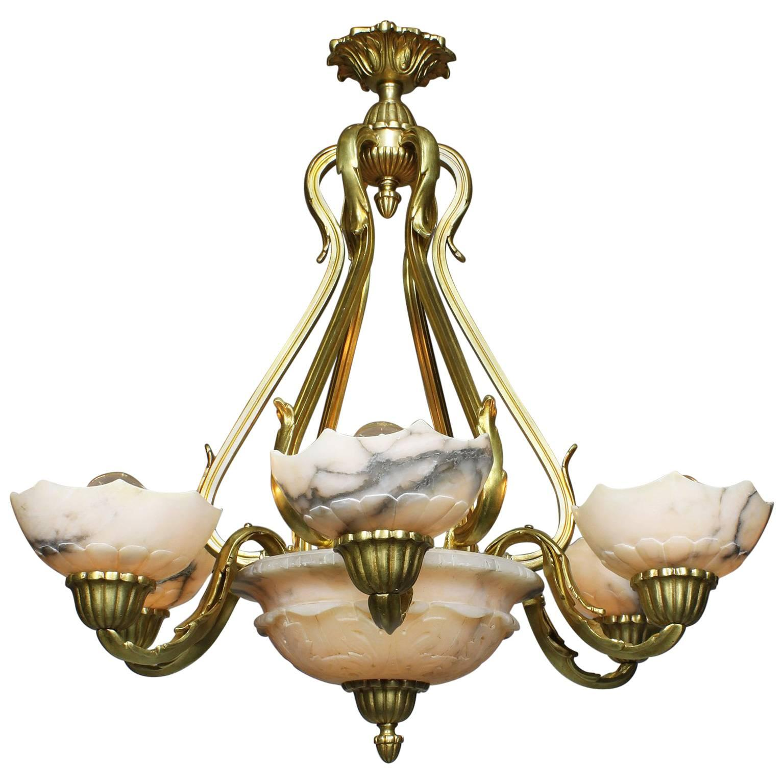 French Art Deco Gilt Bronze and Carved Alabaster Seven-Light Chandelier