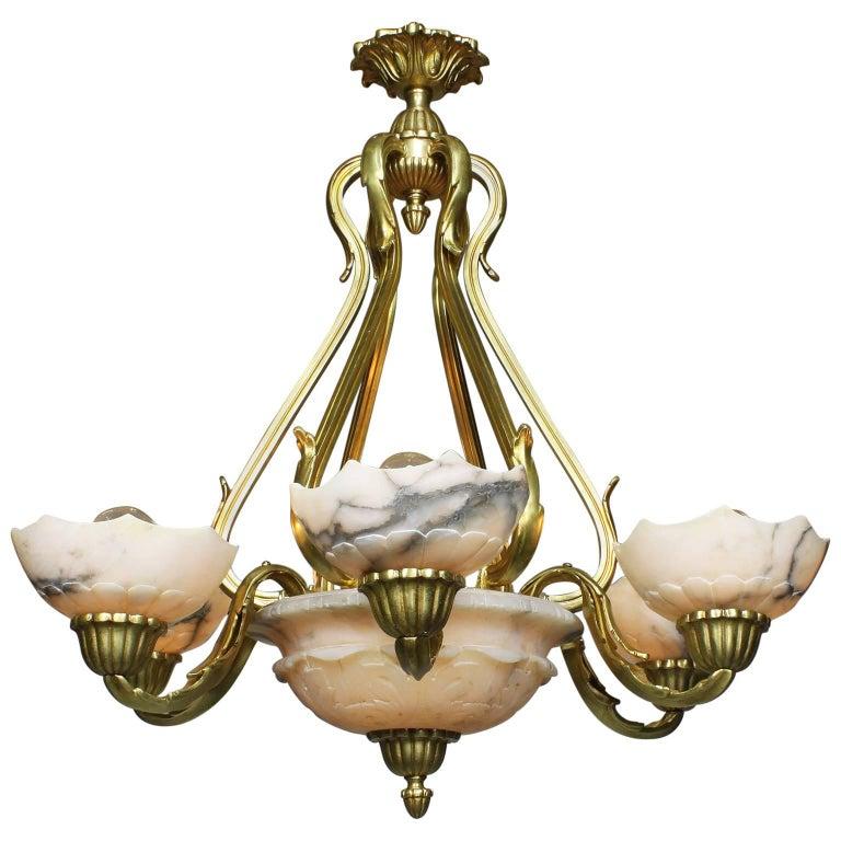 French Art Deco Gilt Bronze and Carved Alabaster Seven-Light Chandelier