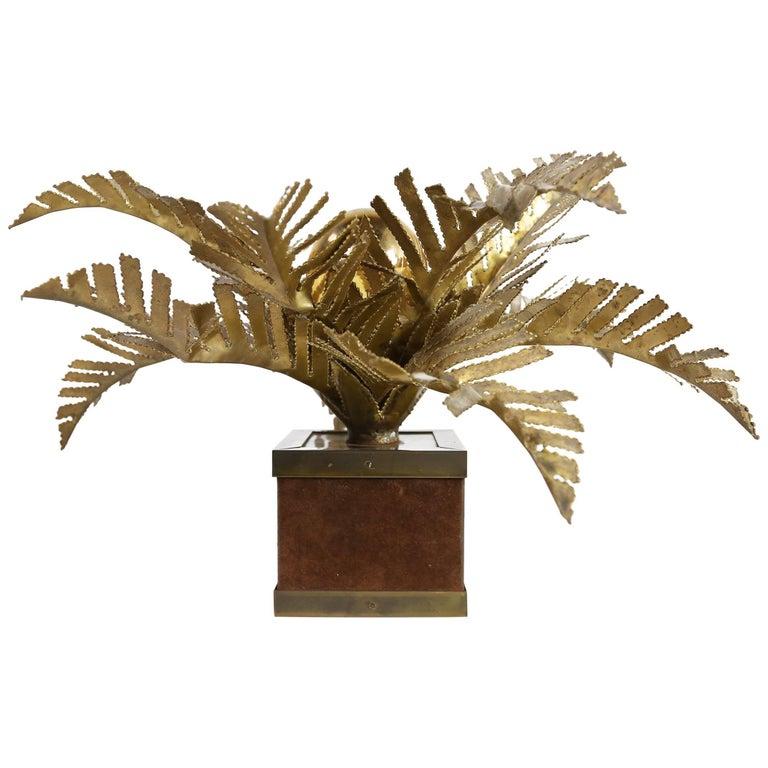 Maison Jansen Palm Tree Table Lamp 1970s Hollywood Regency