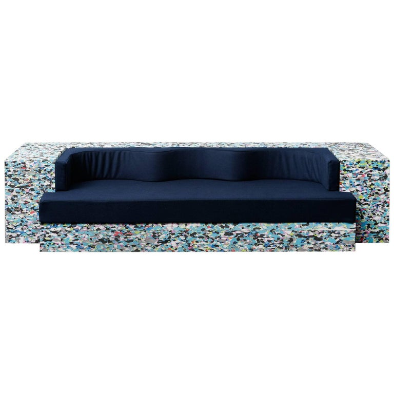 Sofa Contemporary Wavy Shape Muticolor Felt  For Sale