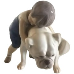 Bing & Grondahl Figurine Boy with Bulldog #1790