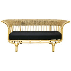 Woven Rattan Sofa with Cushion, Designed by Franco Albini