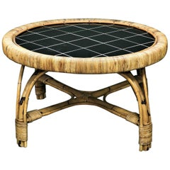 Mid Century Round French Rattan and Tortoise Bamboo Coffee Table with Tile Top
